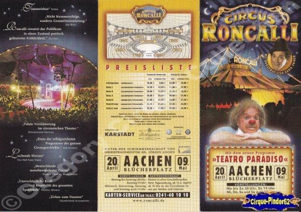 Flyer du Cirque Roncalli (Circus Roncalli)-2004 (n°403)