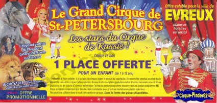 Flyer du Grand Cirque de Saint Pétersbourg-2010 (n°425)