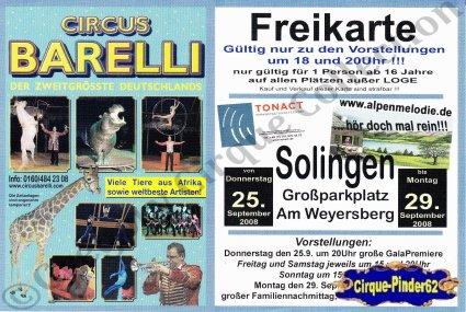 Flyer du Circus Barelli-2008 (n°498)