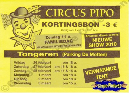 Flyer du Circus Pipo-2010 (n°401)