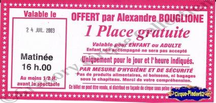 Flyer du Cirque Bouglione (Alexandre)-2003 (n°558)