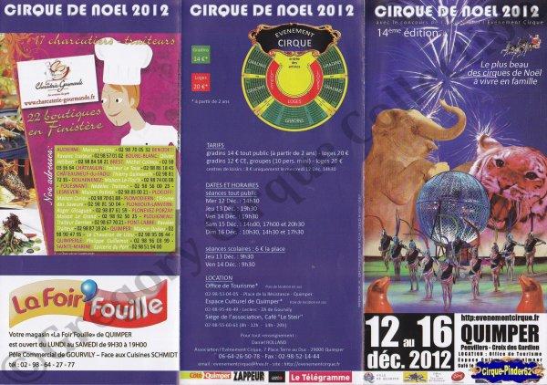 Flyer du Cirque de Noël (Cirque de Noël de Quimper)-2012 (n°562)