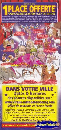 Flyer du Grand Cirque de Saint Pétersbourg-2011 (n°526)