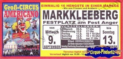 Flyer du Cirque Americano (Groß Circus Americano) (n°492)