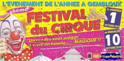 Flyer du Festival du Cirque de Gembloux-2010 (n°543)