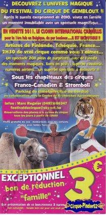 Flyer du Festival du Cirque de Gembloux-2011 (n°544)