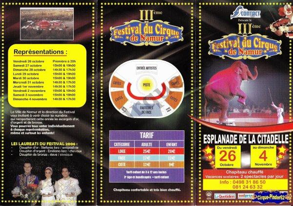 Flyer du Festival du Cirque de Namur-2007 (n°547)
