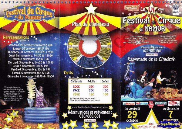 Flyer du Festival du Cirque de Namur-2010 (n°548)