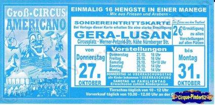 Flyer du Cirque Americano (Groß Circus Americano) (n°754)