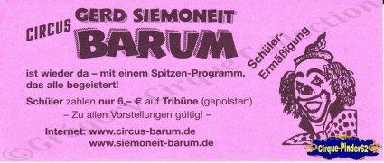 Flyer du Circus Gerd Siemoneit Barum (n°755)