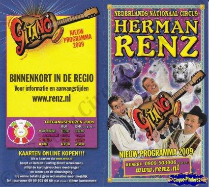 Flyer du Cirque Renz (Circus Herman Renz)-2009 (n°786)