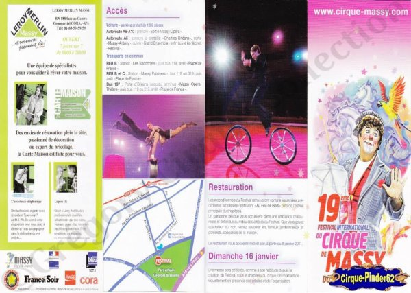 Flyer du Festival International du Cirque de Massy-2011 (n°817)