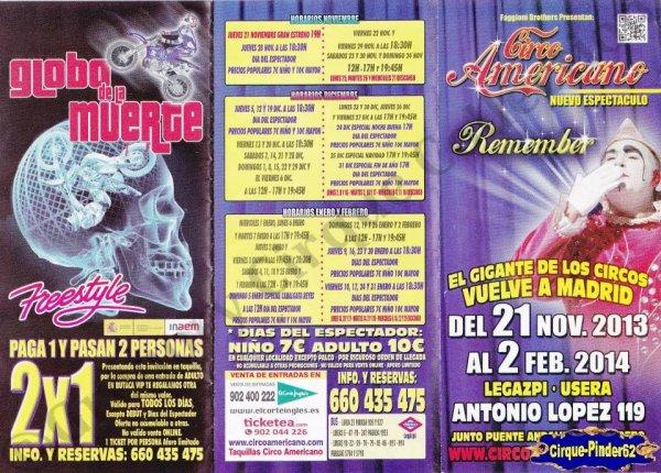 Flyer du Cirque Americano (Circo Americano)-2013/2014 (n°823)