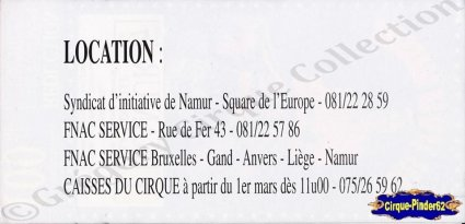 Flyer de l'European Circus Festival-1996 (n°850)