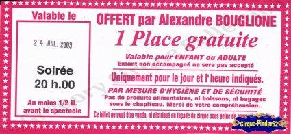 Flyer du Cirque Bouglione (Alexandre)-2003 (n°872)