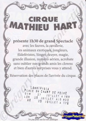 Flyer du Cirque Hart (Mathieu) (n°906)