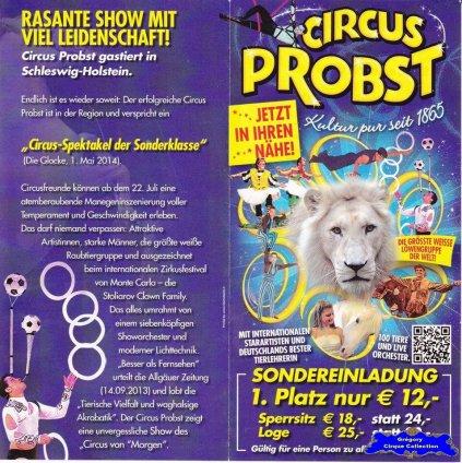 Flyer du Cirque Probst (Circus Probst)-2014 (n°1322)