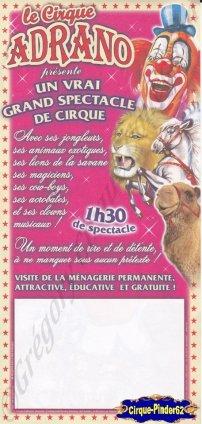 Flyer du Cirque Adrano (n°925)