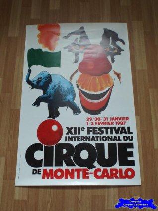 Affiche murale du Festival International du Cirque de Monte Carlo-1987 (n°622)