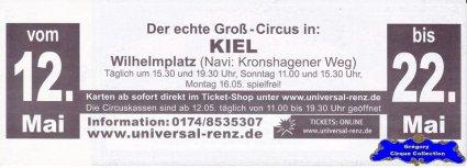 Flyer du Cirque Renz (Circus Universal Renz) (n°1317)