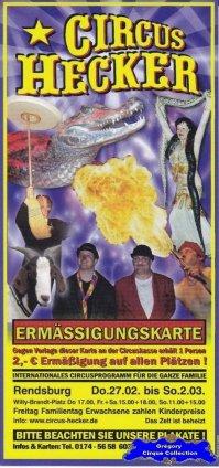 Flyer du Circus Hecker (n°1312)