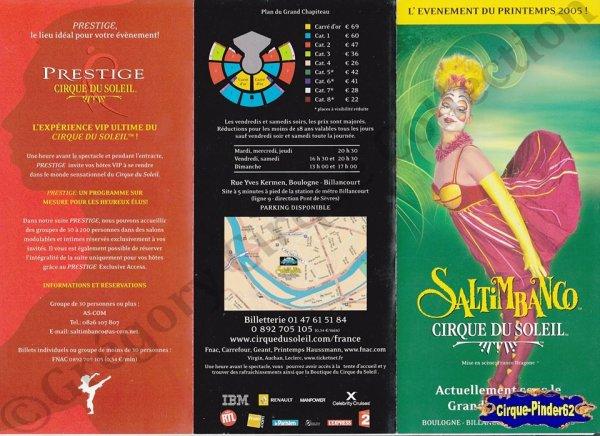 Flyer du Cirque du Soleil-2005 (n°949)