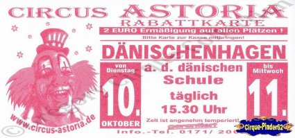 Flyer du Circus Astoria (n°1037)