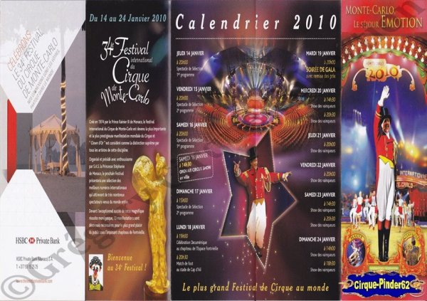 Flyer du Festival International du Cirque de Monte-Carlo-2010 (n°1065)