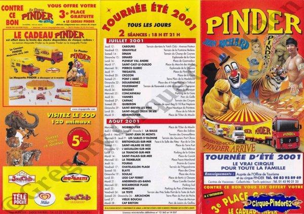 Flyer du Cirque Pinder-2001 (n°1070)