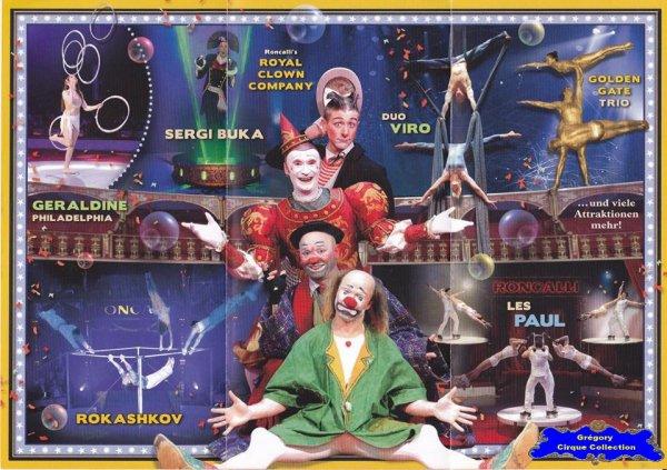 Flyer du Cirque Roncalli (Circus Roncalli)-2015 (n°1334)