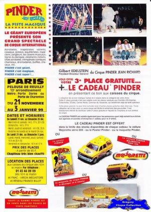 Feuille a4 du Cirque Pinder-1998/1999