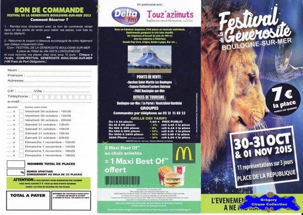 Flyer du Festival de la Générosité de Boulogne sur Mer-2015 (n°1091)