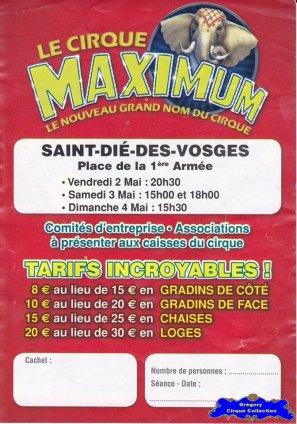 Flyer du Cirque Maximum-2014 (n°1084)