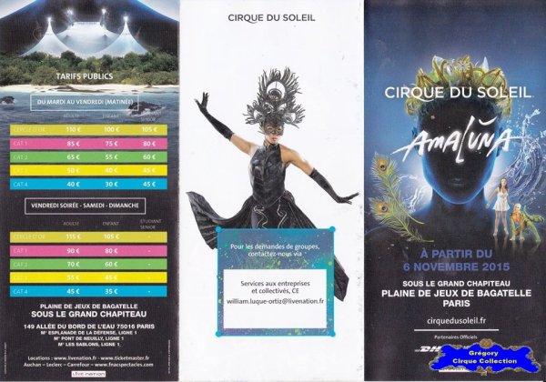 Flyer du Cirque du Soleil-2015/2016 (n°1074)