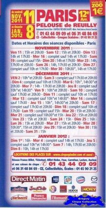 Flyer du Cirque Pinder-2011/2012 (n°1248)