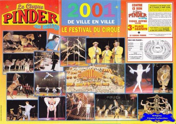 Flyer du Cirque Pinder-2001 (n°1247)