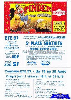 Feuille a4 du Cirque Pinder-1997