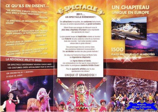 Flyer du Cirque Gruss (Arlette)-2011 (n°1209)