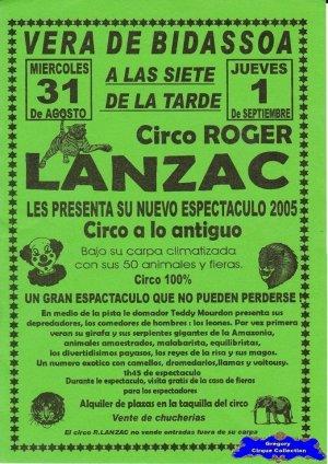 Flyer du Cirque Lanzac (Roger)-2005 (n°1220)