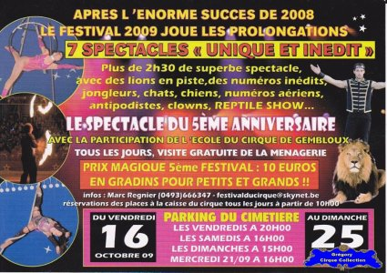 Flyer du Festival du Cirque de Gembloux-2009 (n°1201)