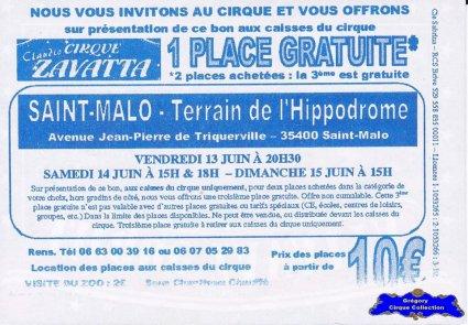 Flyer du Cirque Zavatta (Claudio)-2014 (n°1224)