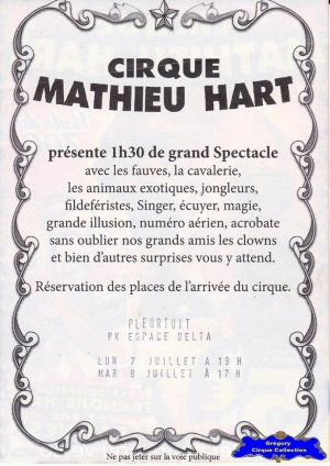 Flyer du Cirque Hart (Mathieu) (n°1242)