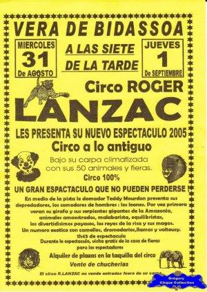 Flyer du Cirque Lanzac (Roger)-2005 (n°1221)