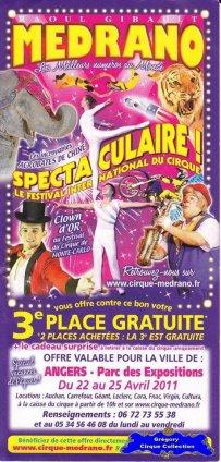 Flyer du Cirque Médrano-2011 (n°1217)