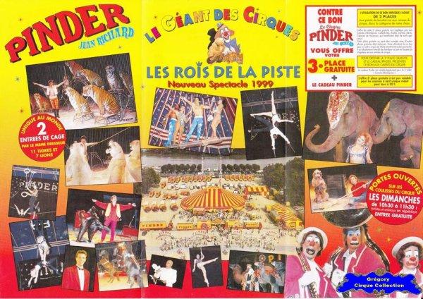Flyer du Cirque Pinder-1999 (n°1246)