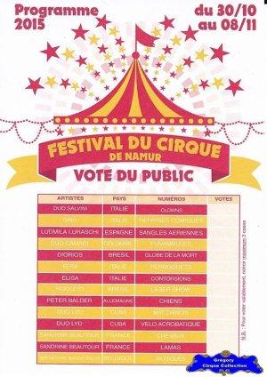 Flyer du Festival du Cirque de Namur-2015 (n°1178)