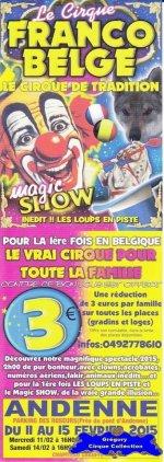Flyer du Cirque Franco Belge-2015 (n°1187)