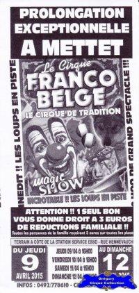 Flyer du Cirque Franco Belge-2015 (n°1190)