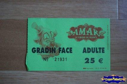 Ticket du Cirque Amar
