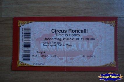 Ticket du Cirque Roncalli (Circus Roncalli)-2013